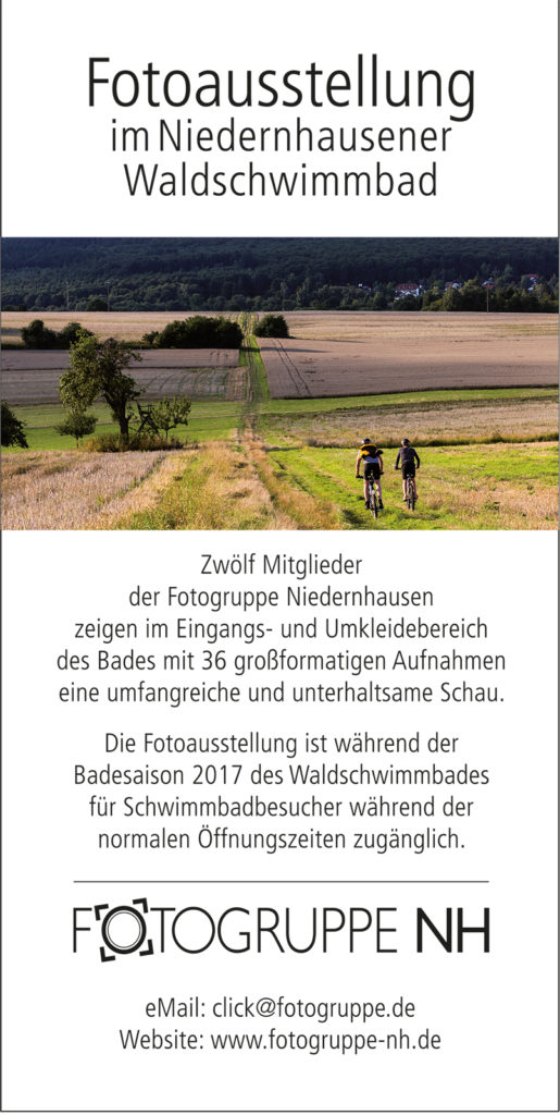 Einladung zur Eröffnung der Ausstellung im Waldschwimmbad am 1. Mai 2017